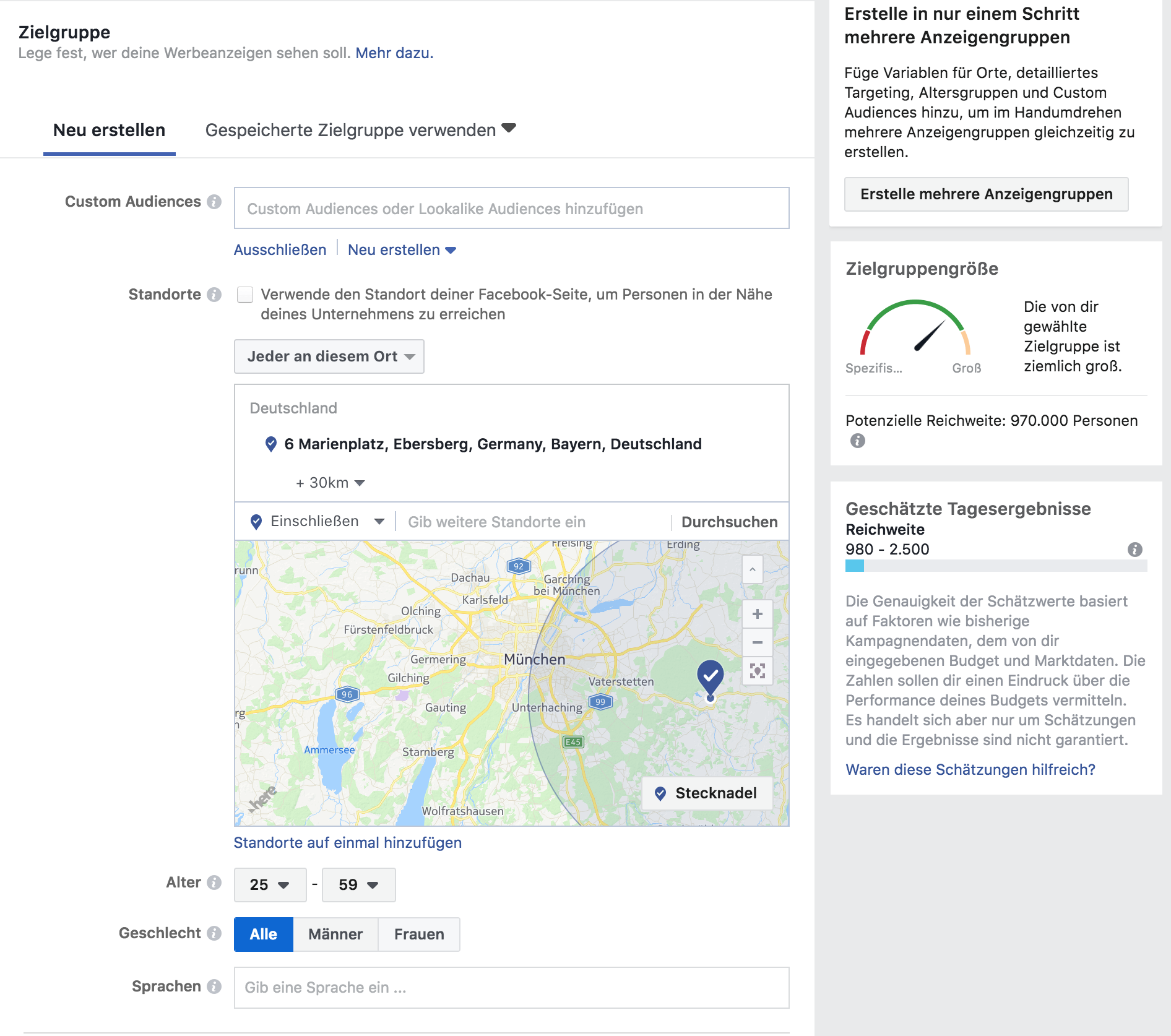 lokales onlinemarketing - facebook zielgruppendefinition