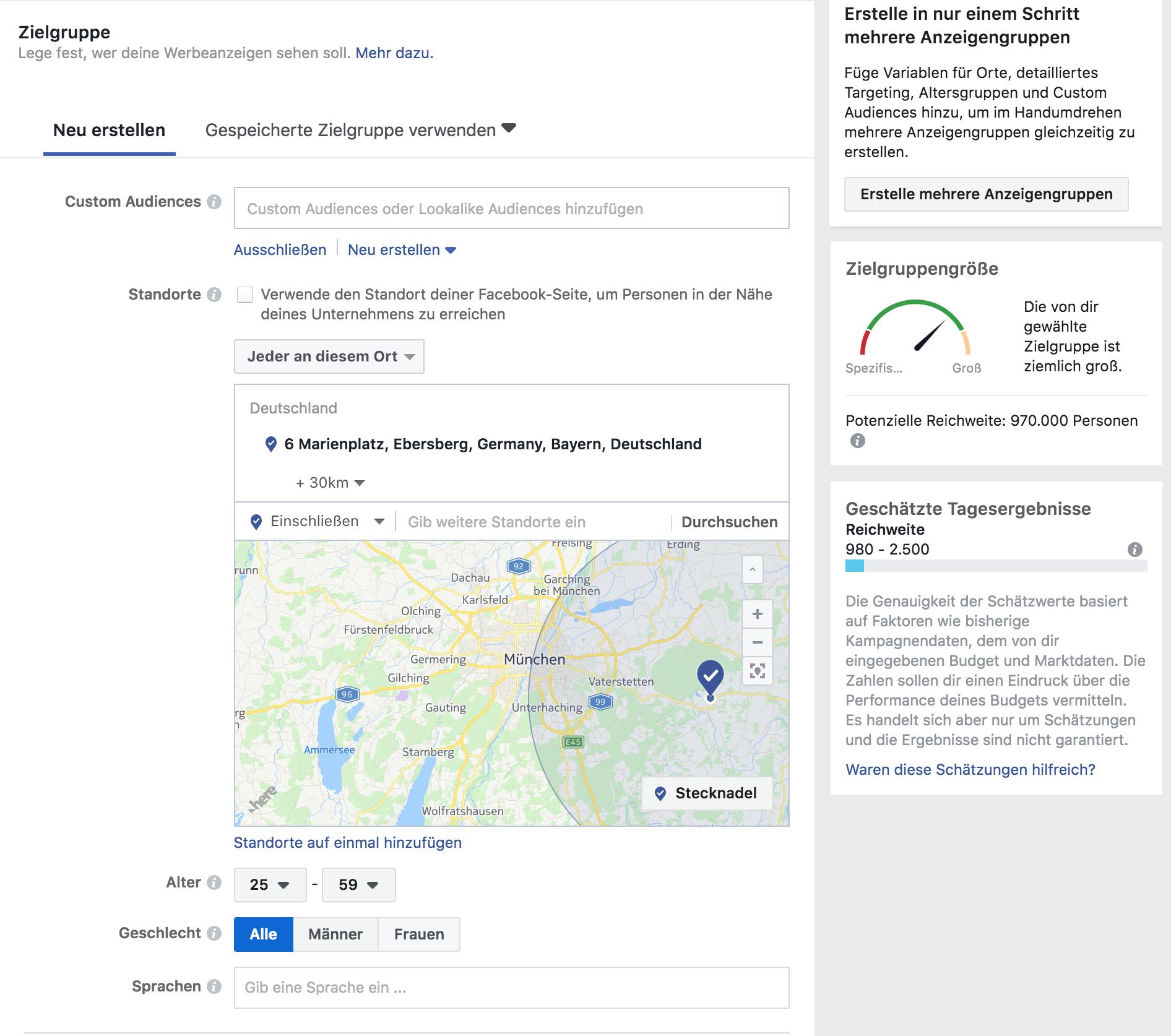 lokales onlinemarketing - facebook zielgruppendefinition